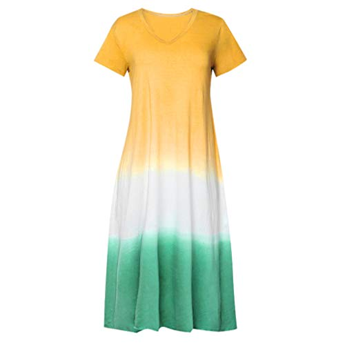 Vrouwen Katoen Lijn Lange Mouwen, Dames Plus Size Tie-Dyed Kleur Blok Korte Mouw Jurk, Causal Maxi Jurk, Zomer Strand Vakantie Jurk