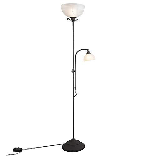 QAZQA Landelijk Klassieke vloerlamp bruin met leeslamp en dimmer - Dallas Glas/Staal Rond/Langwerpig Geschikt voor LED Max. 1 x 100 Watt