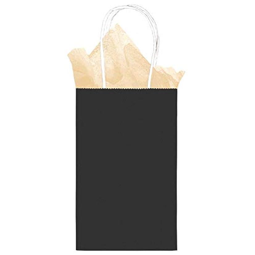 12 Pack Solid Black Color Kraft Gift Bags - Medium Size 8