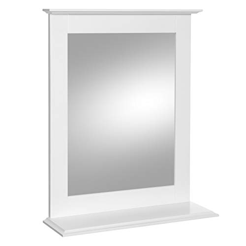 VASAGLE Bathroom Mirror, Wall-Mounted Mirror with Shelf, Makeup Vanity Mirror for Dressing -