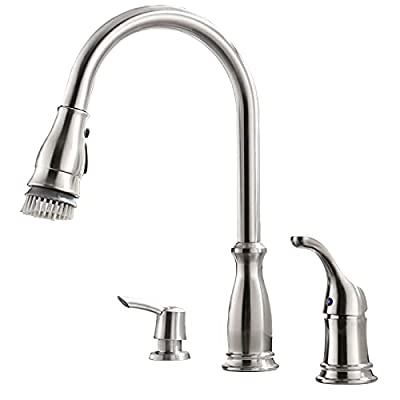 APPASO 3 Hole Kitchen Faucet with Pull Down Magnetic Docking Sprayer