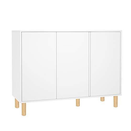 Homfa Kommode Sideboard Schrank Badezimmerschrank Standschrank Beistellschrank verstellbare Regalebene mit 3 Türen Weiß Holz 107x40x80cm