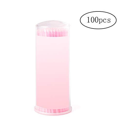 Xiton brosse de maquillage à usage unique micro brosses applicateur pour 100 Packs Extensions Cils Rose