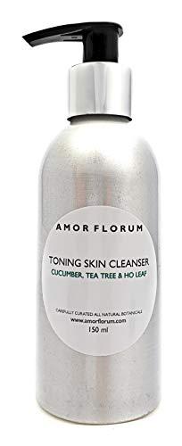 LOCIÓN DE LIMPIEZA FACIAL - CON PEPINO, ARBÓL DE TÈ & HOJA DE HO - 150 ml - de AMOR FLORUM. Suave loción hidratante y limpiadora para el rostro, totalmente natural.