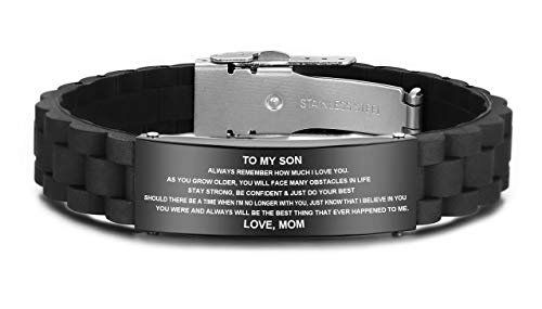 JF.JEWELRY Personalized Gifts to My Son, to My Daughter Husband Wife Bracelet, Son Bracelet from Mom and Dad, Son Gift for Graduation, Birthday Inspirational Bracelets Engraved