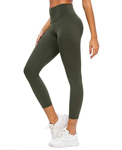 QUEENIEKE Yoga Leggings für Frauen Hohe Taille Yogahose mit Taschen Taillenformer Strumpfhose Weich für Yoga Farbe Dunkelgrün Größe XL