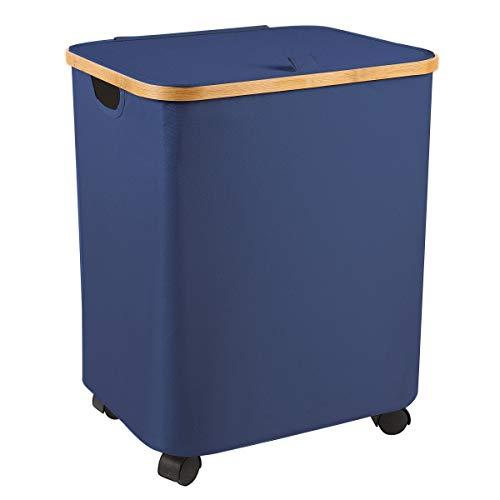 Cesto para la ropa sucia con tapa, de madera, de bambú, plegable, con ruedas, para dormitorio, juguetes y ropa