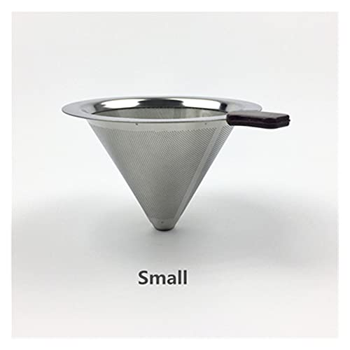 SHUANGX Stainless Steel Coffee Filter Holder Reusable Coffee Filters Dripper v60 Drip Coffee Baskets (Color : Small V-F-401)