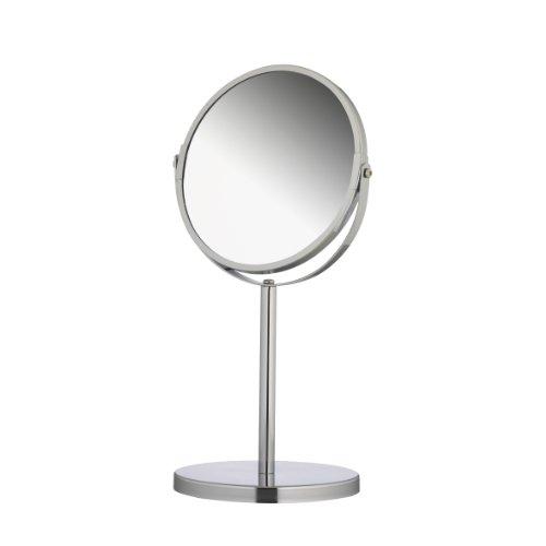 axentia Miroir Cosmétique sur Pied Double Face, Miroir de Maquillage Rond 1x et 3X Grossissement, Miroir de Rasage Pivotant, env. Ø 17 cm, Argenté