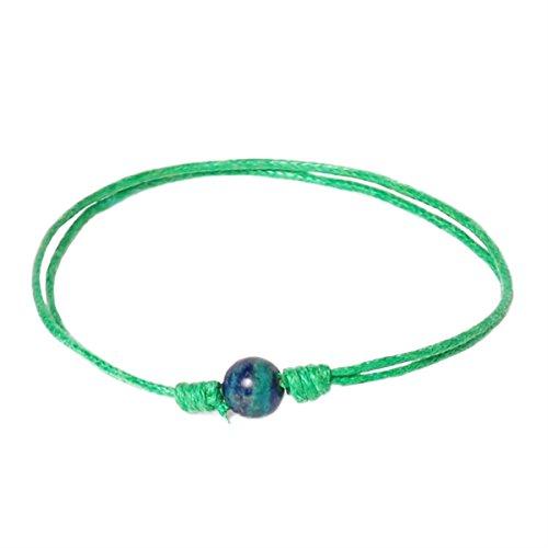 Bow, Armband Azurit Malachit (6 mm) Spezialgarn Gute Energie, beruhigt die Angst und verhindert Negativität