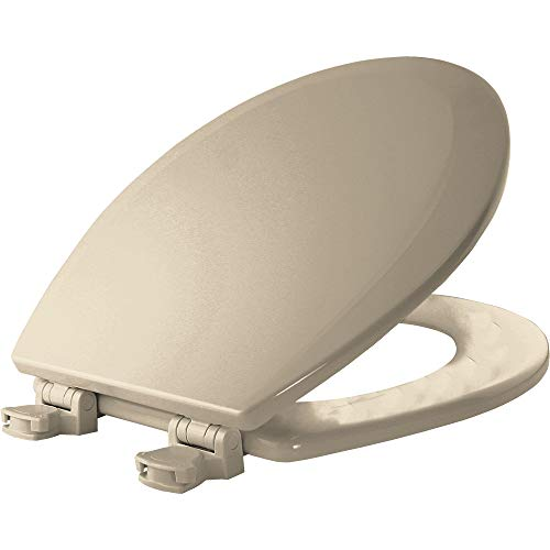 BEMIS 500EC 146 Toilet Seat with Easy Clean & Change Hinges, ROUND, Durable Enameled Wood, Almond