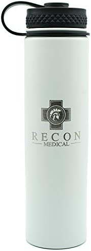 Surgical Grade Stainless Steel Water Bottle by Recon Medical White Vacuum Sealed double wall product image