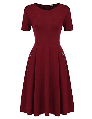 Zeagoo Damen Skaterkleider Kurzarm Swing Kleider Basic A-linie Knielang beiläufiges Kleid elegant Baumwolle Partykleid Sommerkleider, A-weinrot, EU 36/ S