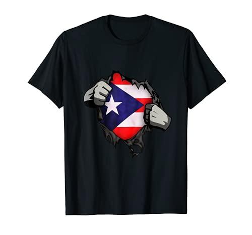 Funny Puerto Rico Flag Boricua Comic Superhero Kids Family T-Shirt