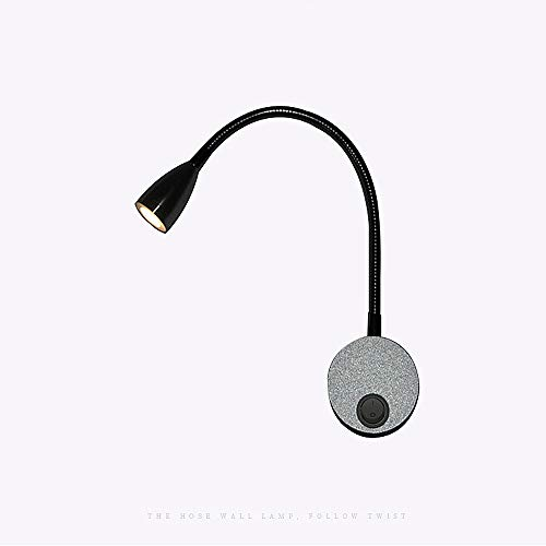 Leeslamp aan de muur, LED-zwanenhals-leeslamp, 3 W warmwitte badkamerlamp met aan-/uitschakelaar, moderne wandlamp met aluminium bevestiging, eyecare-arm, zonder stekker, zwart modern Warmlight