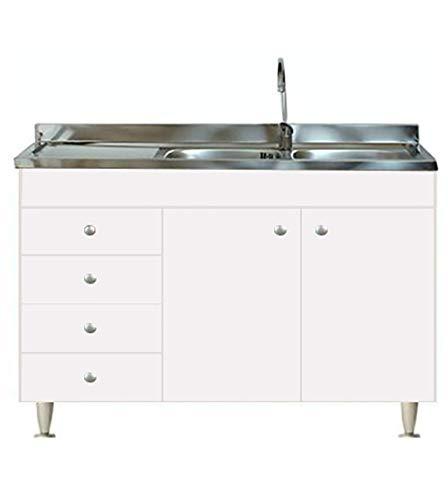 Mueble modular para cocina de 120 x 50 x 85 cm de altura, color blanco