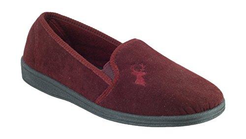 Mirak Slip-On Textile Lined Mens Slippers - Wine - Size 6