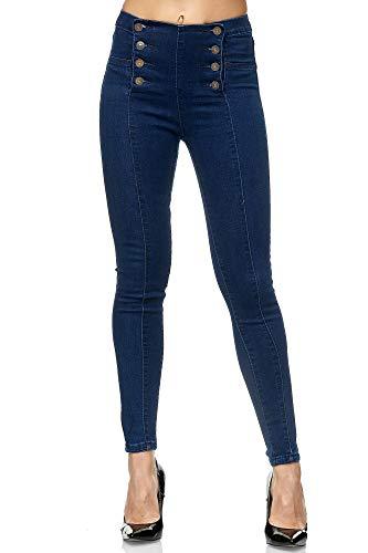 Elara Jeans da Donna Skinny Fit Vita Alta Chunkyrayan Blu JS001-5 Dk.Blue-42 (XL)