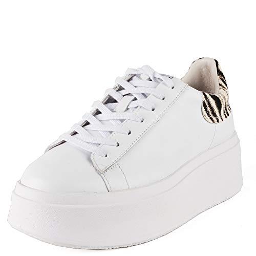 ASH MOBY Turnschuhe Ponyhaar aus weißem Leder und Zebradruck 41 White.