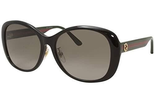 Gucci GG0849SK 001 - Gafas de sol para mujer, color negro/verde/marrón, lente de gradiente redonda, 59 mm