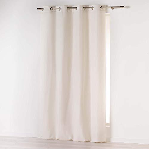 douceur d'intérieur Absolu Rideau a Oeillets 140 x 260 cm Microfibre Unie ABSOLU Polyester, Naturel, 260x140 cm
