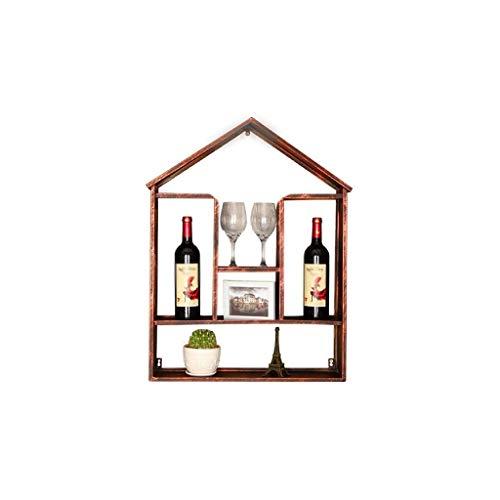 NXYJD Iron & Wine Rack montado en la Pared, de Madera del Vino estantes, Viene con Vino Bastidores y Colgantes titulares Stemware
