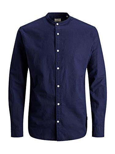 JACK & JONES Herren JJESUMMER Band Shirt L/S NOOS Freizeithemd, Blau (Maritime Blue Fit: Slim Fit), Medium (Herstellergröße: M)