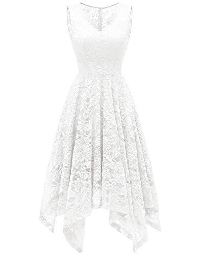 Meetjen Damen Elegant Spitzenkleid V-Ausschnitt Unregelmässiger Asymmetrischer Saum Festliches Kleid Cocktail Abendkleid White XL