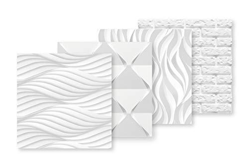 Panel 3D de poliestireno, revestimiento de pared, 60 x 60 cm, gran selección