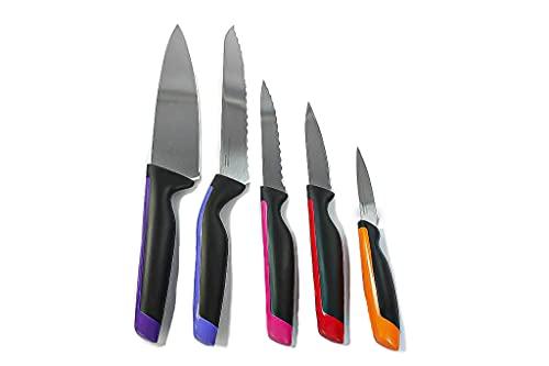 Tupperware Couteau du Chef Noir+Couteau à Pain Bleu+à Tomate Rose+Rouge + Orange