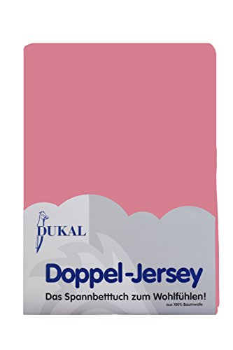 Dukal, Wasserbett Spannbettlaken, 180-200 x 200 cm, hochwertiger DOPPEL-Jersey (100% BW), Farbe: Altrosa