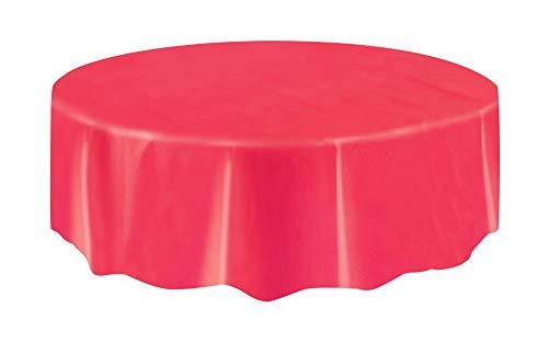 Mantel de Plástico Redondo - 2,13 m - Rojo