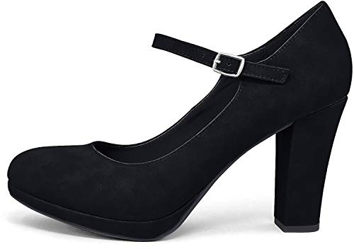 City Classified Comfort Nola - Tacón ancho con correa al tobillo y puntera cerrada para mujer, negro (Negro (black Nubuck)), 39 EU