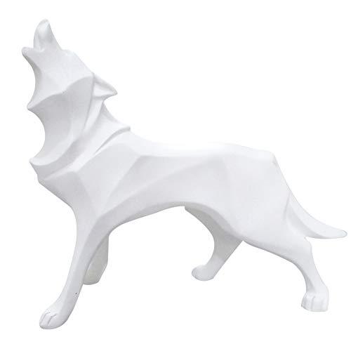 Fablcrew Wolf Skulptur, Ornamente, Skulptur, geometrische Tiere, Kunstharz, Statue Wolf Deko, Geschenk für Haus, Büro (weiß)