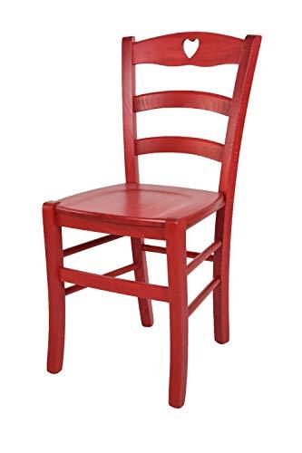 Tommychairs - Sedia modello Cuore per cucina bar e sala da pranzo, robusta struttura in legno di faggio verniciata in anilina rossa e seduta in legno