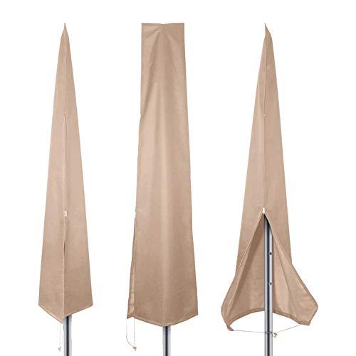 PATIO PLUS - Funda para sombrilla para exteriores, 190 x 25/50 cm, impermeable, 600D, revestimiento de PVC con cremallera, ajuste a sombrillas de 1,8 m a 3,4 m, color caqui