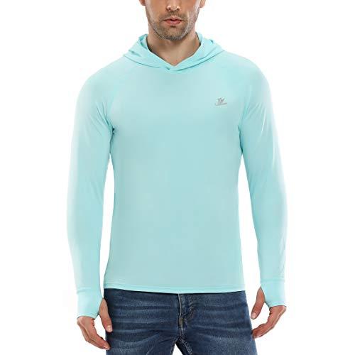 Devoropa Men's UPF 50+ Sun Protection Hoodie Long Sleeve Fishing Hiking T-Shirt with Thumbhole Light Green XXL