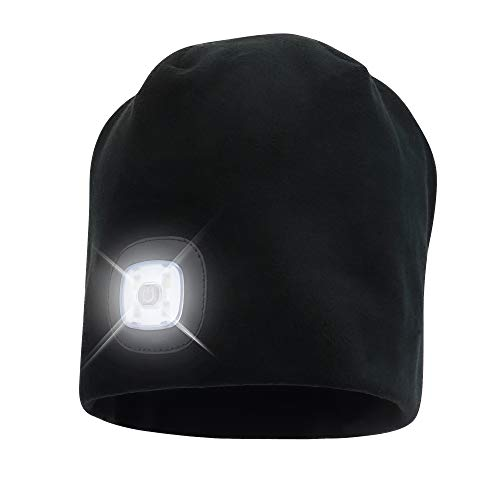 HEAD LIGHTZ Fleece Beanie Hat with LED Light - Warm Cap for Winter Safety - 3 Brightness Settings - Unisex Fits Most Men, Women and Kids Headlamp for Outdoor Dog Walking, Running, Hiking, Woods