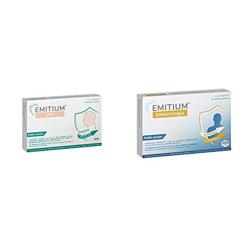 EMITIUM PIEL 20 CÁPSULAS, Negro, Mediano + Niam Inmunologia con probióticos, vitaminas y minerales, 40 cápsulas vegetales, 200g