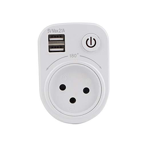 YUY Enchufe Multifunción Interruptor USB Carga Viaje Giratorio 180 ° Tira Alimentación Más Seguro Más Práctico Adecuado para El Hogar Oficinas Viajes