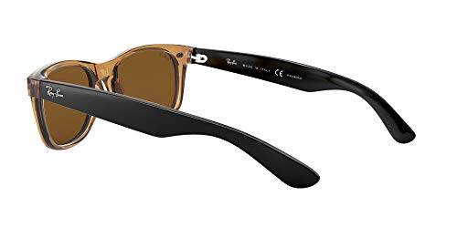 Ray-Ban RB2132 New Wayfarer Polarized Sunglasses, Honey/Polarized Crystal Brown, 55 mm