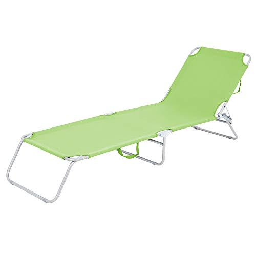 ECD Germany Tumbona Plegable de Playa 200x56x26 cm Verde Aluminio Reclinación Ángulo Respaldo Regulable para Tomar el Sol Jardín o Balcón hasta 120kg Tejido Oxford Poliéster Hamaca de Terraza Piscina