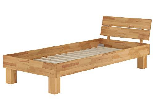 Erst-Holz Lit Simple en hêtre Naturel 90x200 Style Moderne avec sommier à Lattes 60.80-09