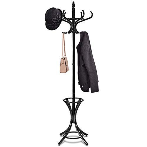 COSTWAY Garderobenständer Kleiderständer Jackenständer mit Schirmständer Garderobe Aufhänger 12 Kleiderhaken 184 cm Farbewahl Holz (schwarz)