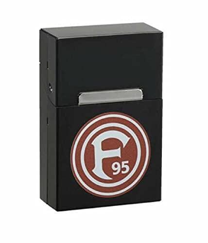 Fortuna Düsseldorf Alu Box schwarz, Zigarettenbox Logo F95, Zigarettenetui, Etui (L)