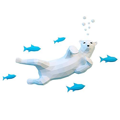WLL-DP Oso Polar Y Pez 3D Escultura De Papel Animal Modelo De Papel Decoración De Pared Hecho A Mano DIY Geométrico Origami Puzzle Papel Precortado Artesanía De Papel Juguete