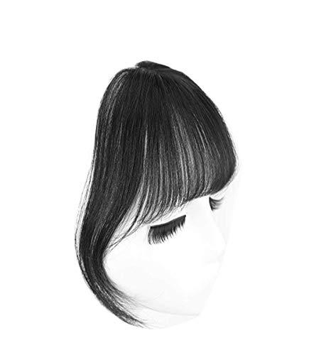 Frange en cheveux humains à clip 3D Air - Pour femme - Noir naturel