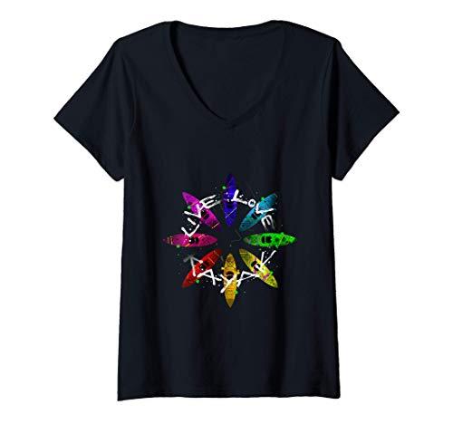 Damen Kajak Geschenk Live Love Kajak T-Shirt mit V-Ausschnitt