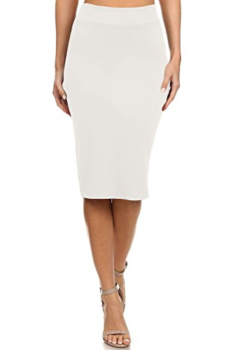 Simlu Ivory Pencil Skirts For Women Off White Skirts For Women Knee Length, Medium
