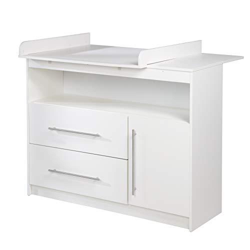 roba breite Wickelkommode 'Maren' inkl. Wickelansatz, Kinderzimmer Kommode mit einer Tür, einem offenen Fach und zwei Schubladen, Wickelhöhe 90 cm, weiß